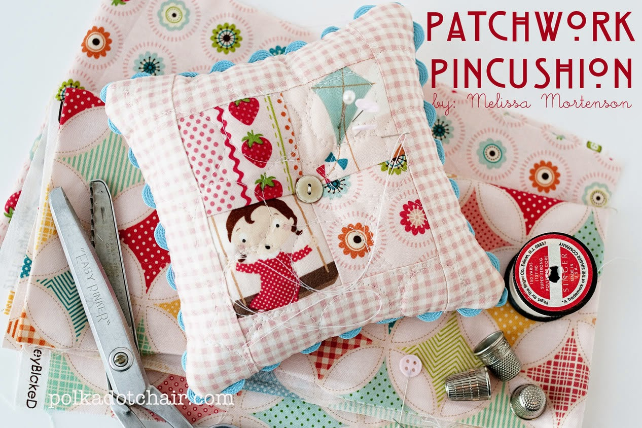 http://www.rileyblakedesigns.com/cutting-corners/2012/03/16/simple-patchwork-pincushion/