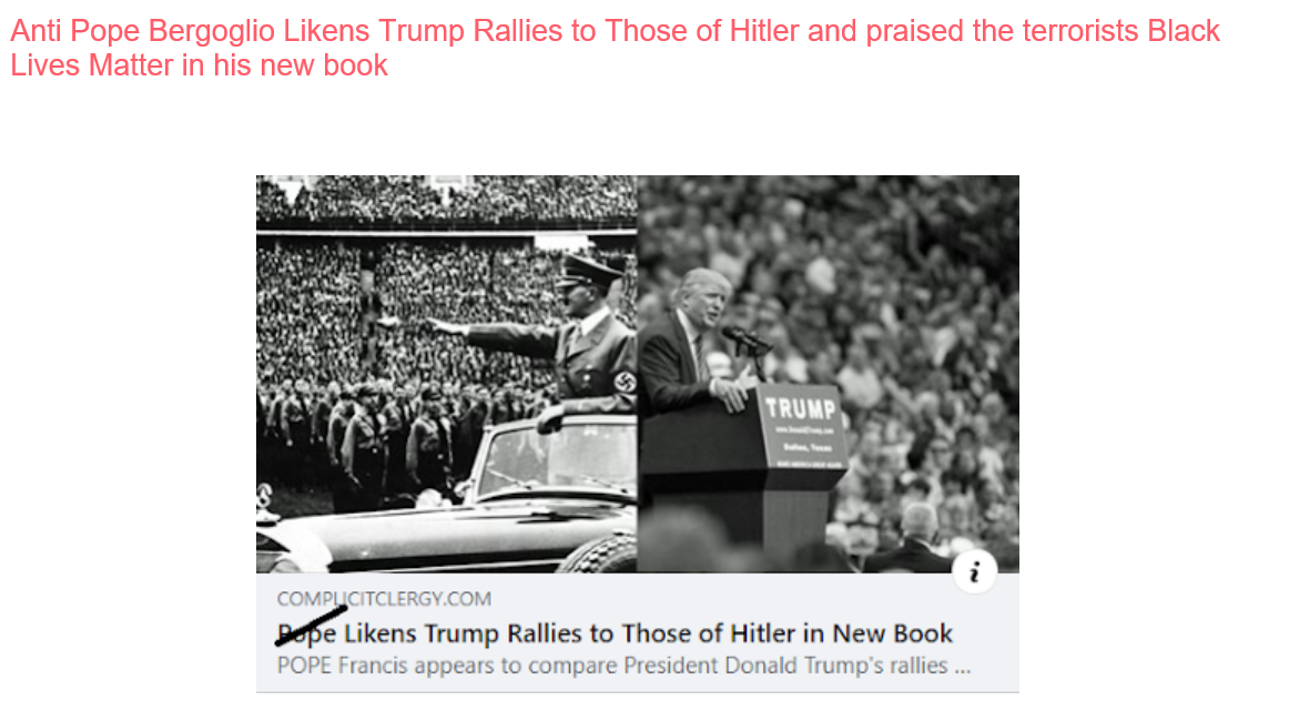 Bergoglio Likens Trump Rallies to Those of Hitler and praised the terrorists Black Lives Matters