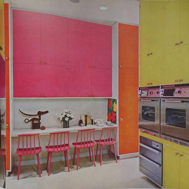 1970s Vintage Modern Kitchen, Bright Colored Vintage Kitchen
