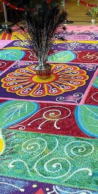 Colourful: The Ranggoli Kolam at the entrance of K&N Kenanga Holdings building.