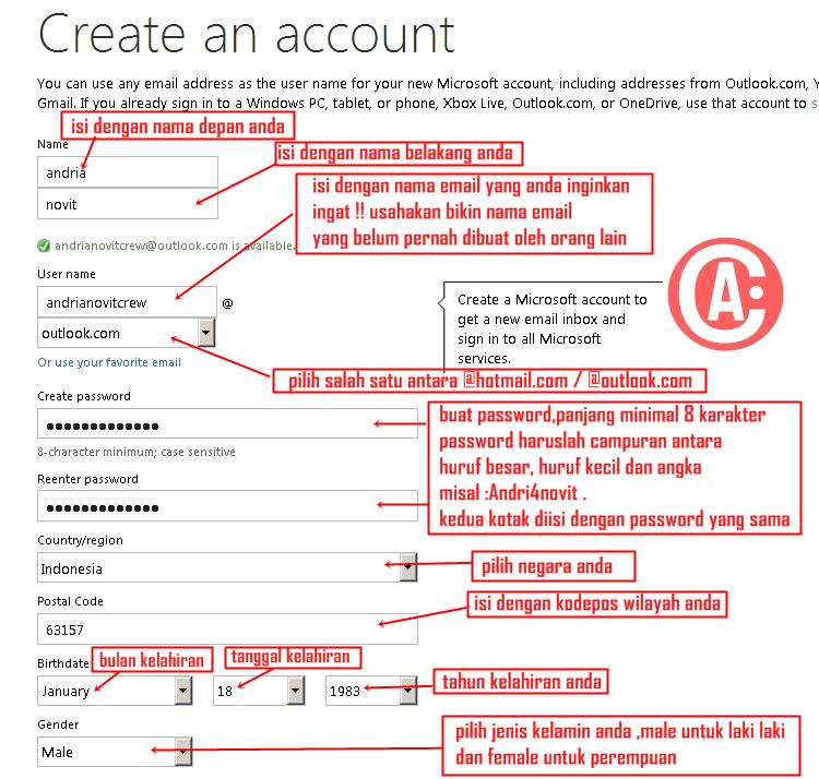 cara membuat / mendaftar email baru di hotmail - cara mengisi form 1