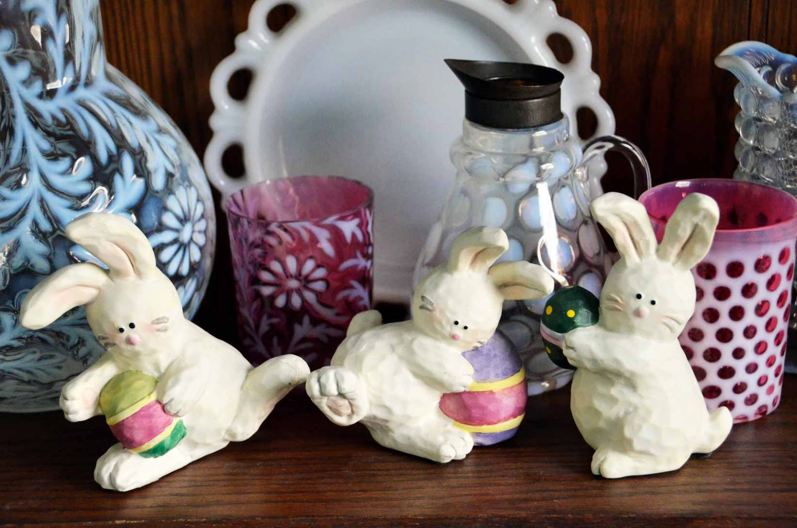 Vintage glass and Easter Bunny sculpture