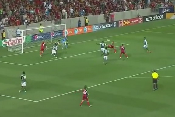 Real Salt Lake player Javier Morales scores a bicycle kick goal against Portland Timbers