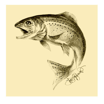 trout drawing, jumping fish