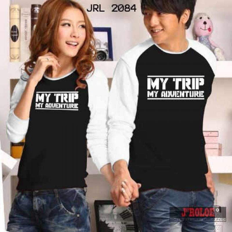 Jual Kaos LP My Trip Black Couple Online Murah di Jakarta Lengan Panjang Trendy
