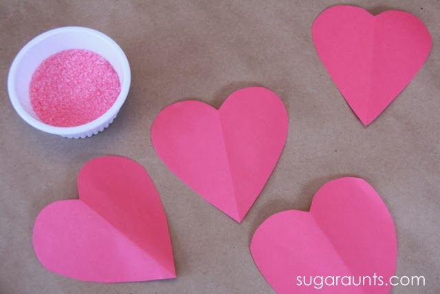 Construction paper hearts and bath salts