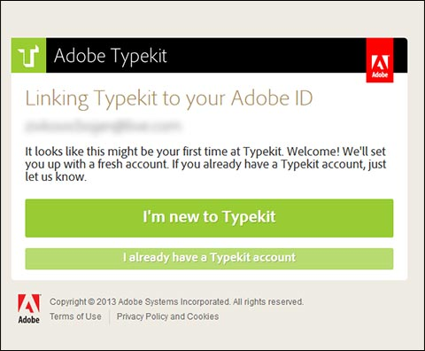 Link Typekit with Adobe ID
