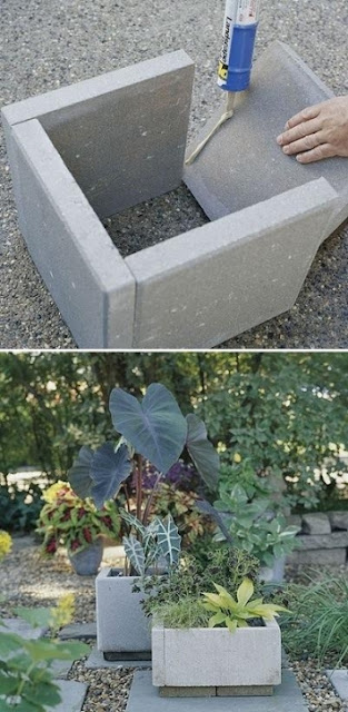 Stone PAVERS become stone PLANTERS