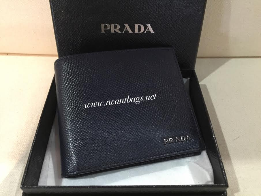 Prada 2M0513 Saffiano Mens Wallet in Bicolor -Baltico/Nero