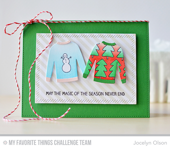 Magic Sweaters Card by Jocelyn Olson WInter Wonderland stamp set and the Comfy Sweater and Blueprints 13 Die-namics #mftstamps #wcmd2015