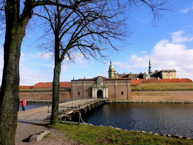 View approaching Kronborg Castle, Helsingor, Copenhagen, Denmark