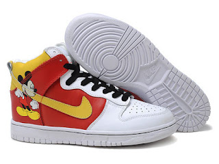 Hightops Nike Custom Dunk High Mickey Mouse Shoes For Men Red White Yellow