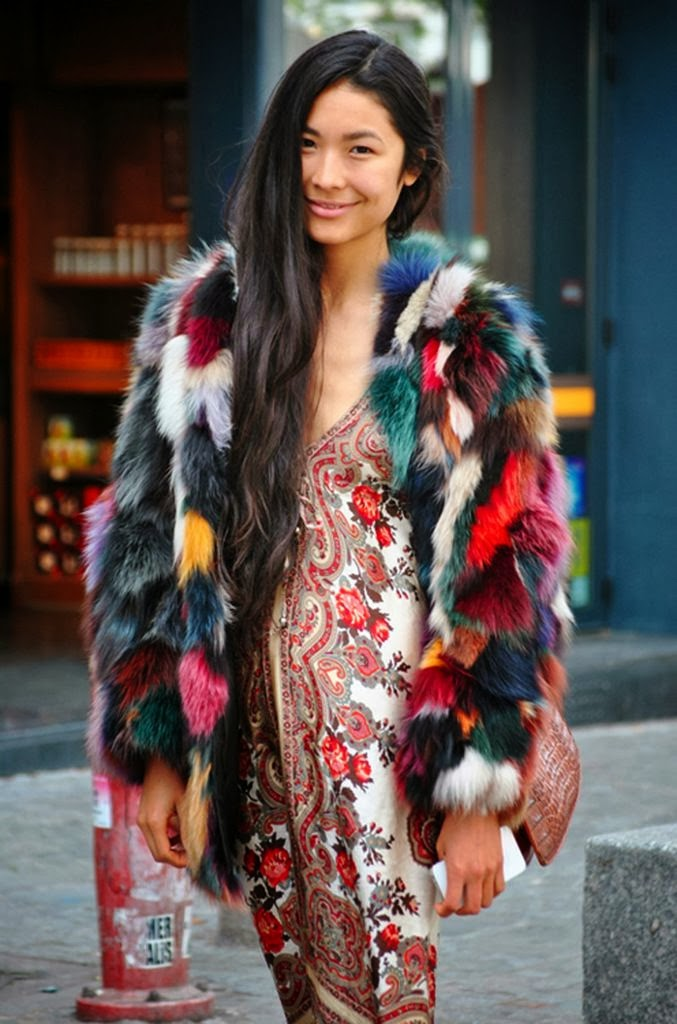patchwork fur coat street style