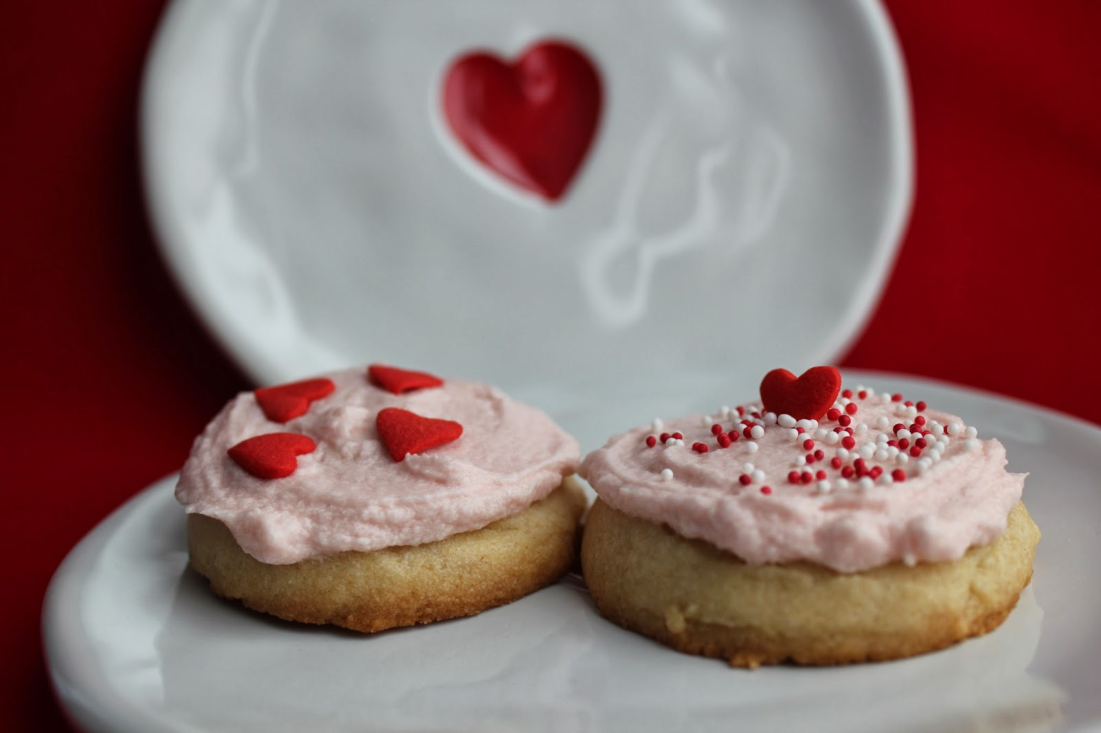 Valentine's Day sugar cookies and heart plates