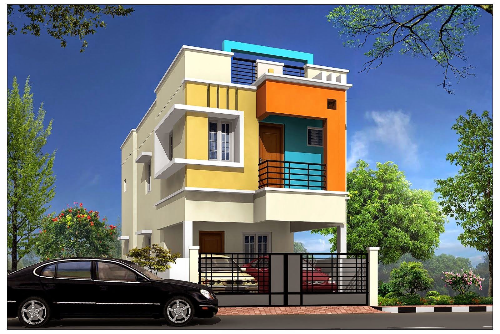 Front Elevation Design For Individual House : Almond tree individual house home villa for sale in
