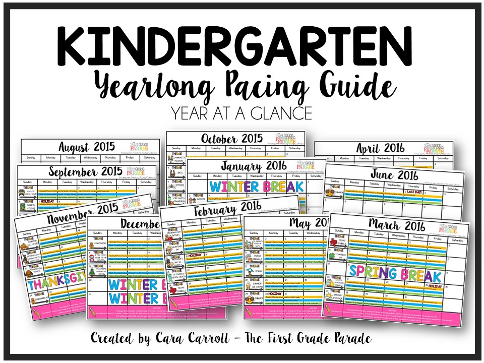 Kindergarten Year Calendar : Year long planning pacing guide k st grades the