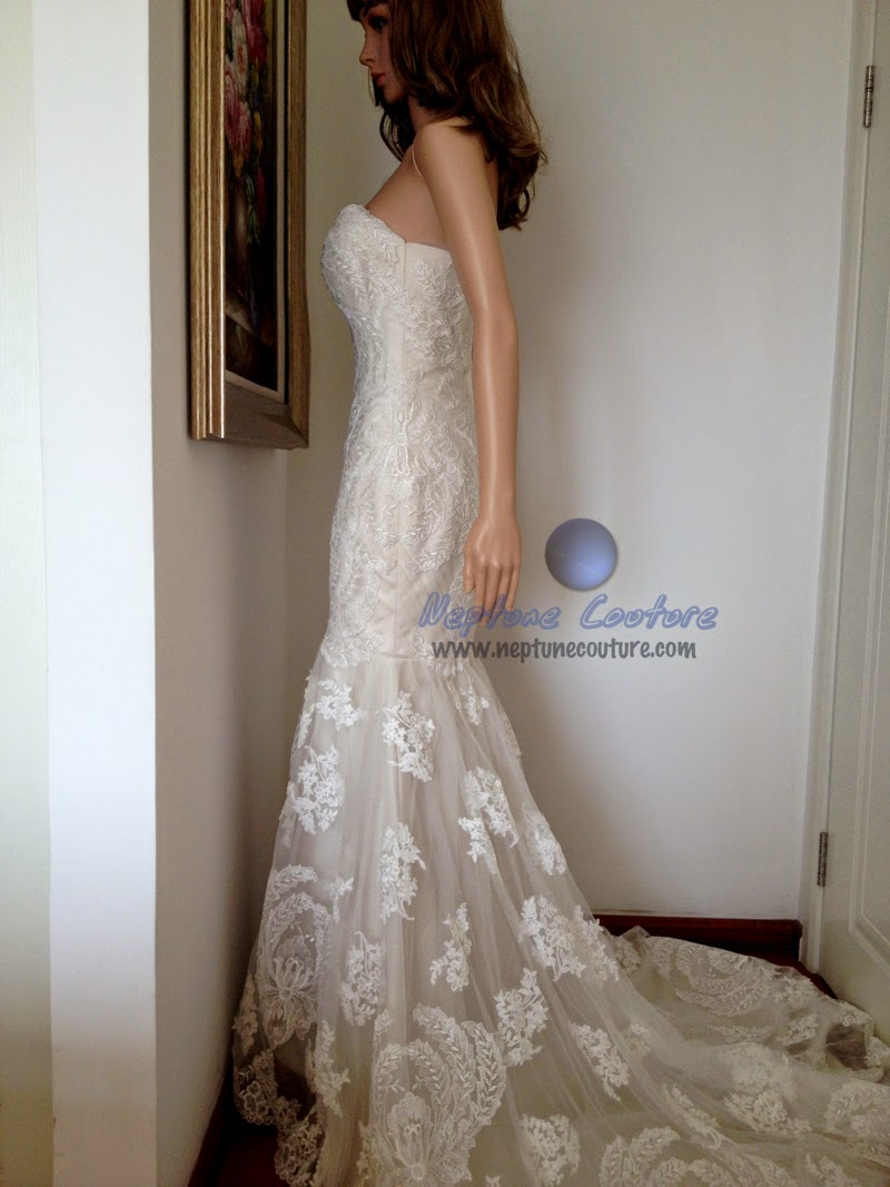Ines Di Santo replica mermaid lace wedding dress with special wheat ...