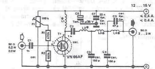 schema circuit amplificateur rf pour bande de 10 m u00e8tres