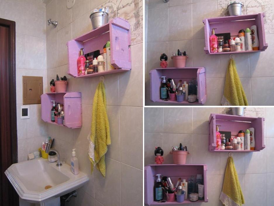 DIY Decoração Idéias para reaproveitar caixotes de feira -> Decoracao De Banheiro Com Caixote De Feira