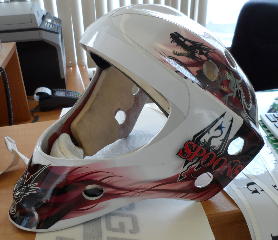 Because the template changes for every size and make we have to have the helmet in store so we can template it once we have done that making the graphics
