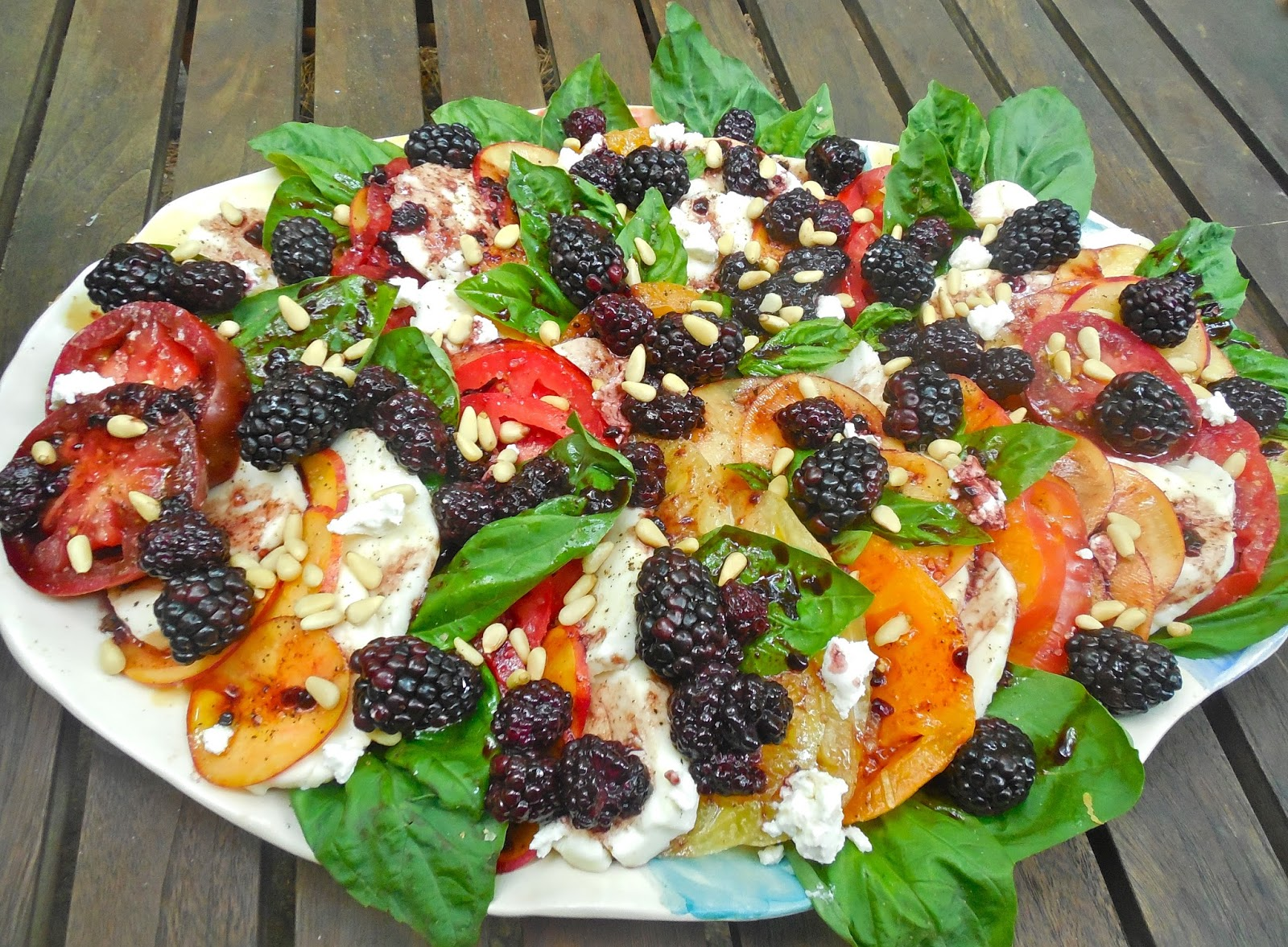 Summer Staples : Peach + Blackberry Heirloom Tomato Caprese Salad with ...