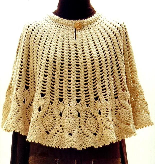 Wonem Poncho With Beautiful Pineapple Lace For Winter
