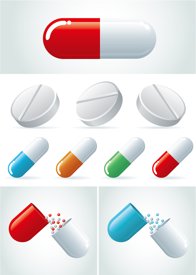 錠剤やカプセル薬のアイコン Pills capsules medicine icons イラスト素材