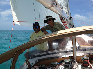 Nazario and Aldo enjoying a day of sailing aboard Whispering Jesse