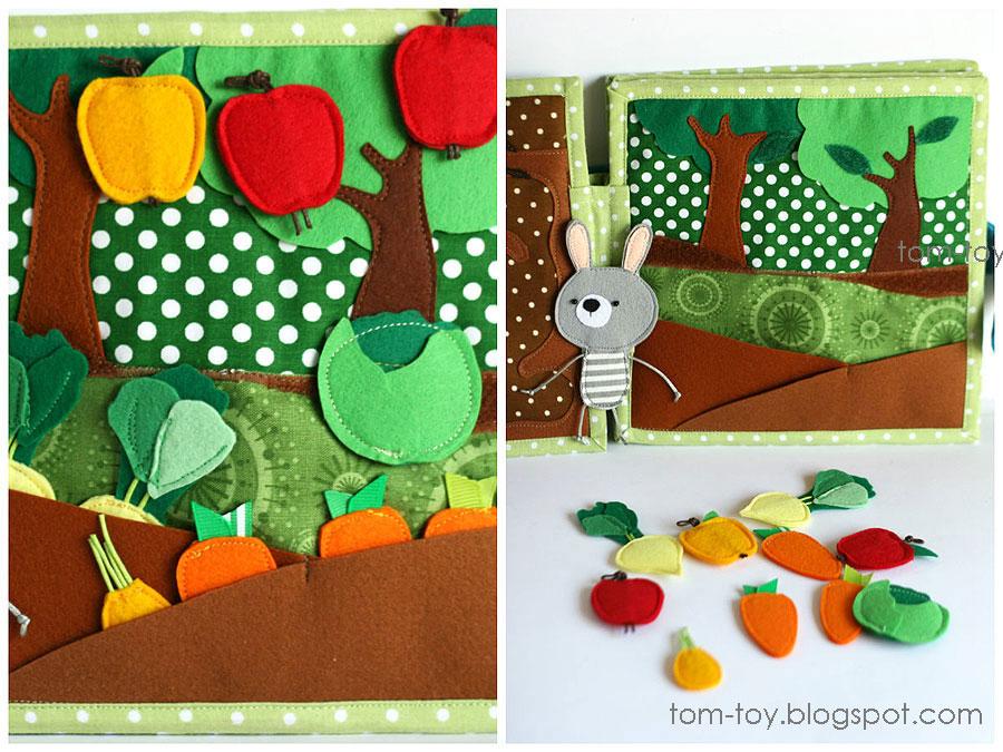 Bunny day quiet busy book for children, pretend play, garden, felt vegetables, развивающая книжка день зайчика, огород