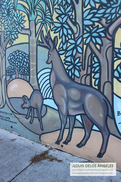 deers in the mural at Hilton Guam