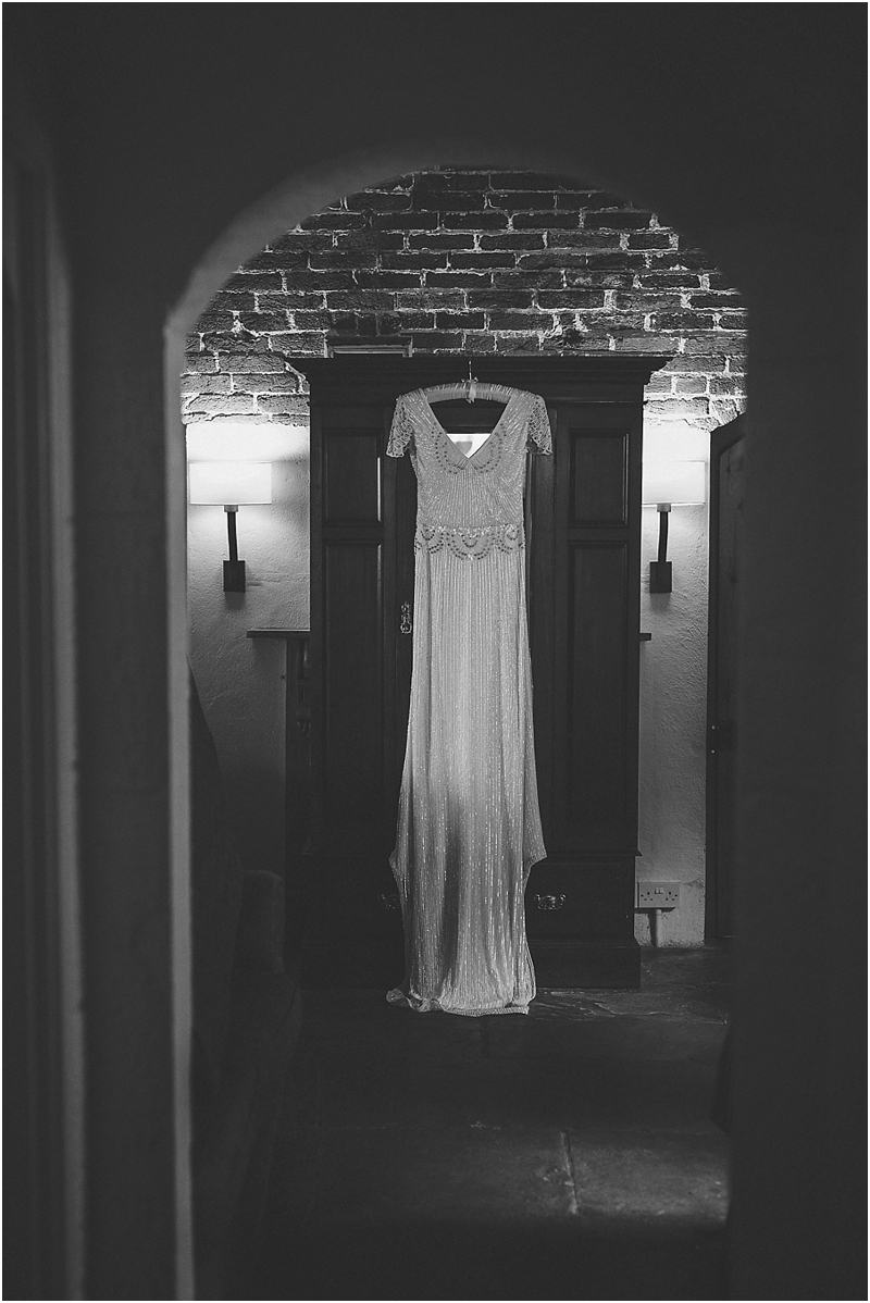 Eliza Jane Howell wedding dress hanging up