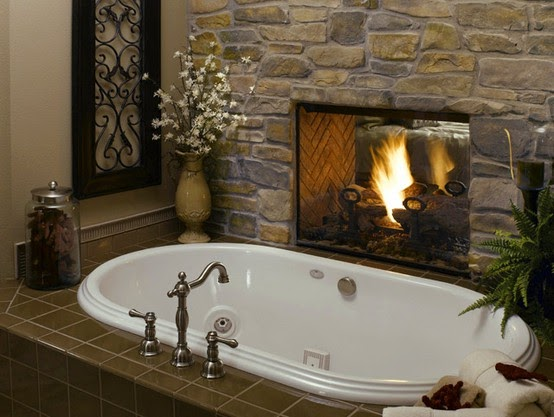 To da loos there 39 s a fire in the bathroom for Fireplaces bath