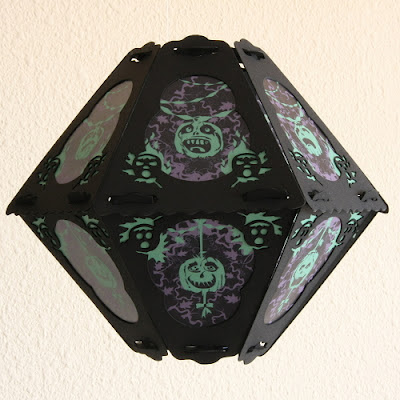 Creepy pumpkin Halloween pattern by Bindlegrim on 12 sided artist-assembled lantern
