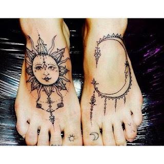 солнце и луна в стиле мехенди
