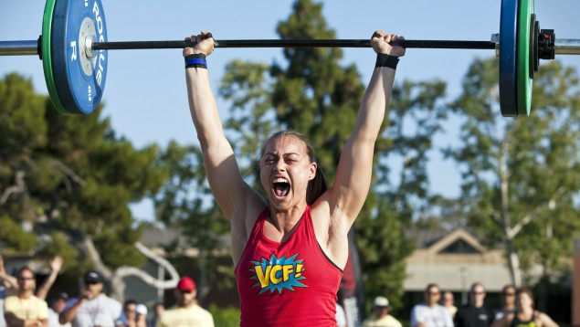 Katie Hogan of CrossFit fame doing a Push Jerk