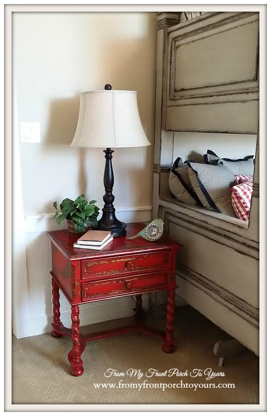 Texas Farmhouse-Red Side Table-RoundTop Texas-Trendmaker Homes-From My Front Porch To Yours