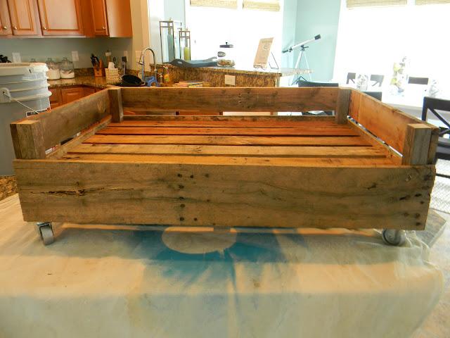 once it was dry i brushed the vinegar mix on the bed frame - Dog Bed Frame
