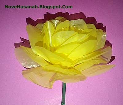 Bunga Zinnia dari kantong plastik bekas