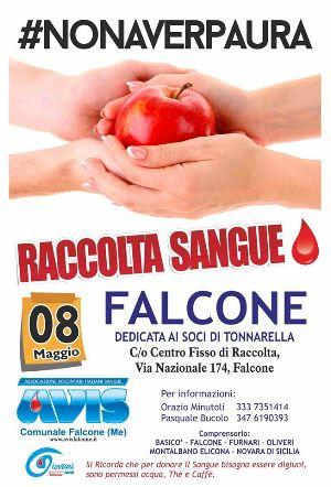 RACCOLTA SANGUE A FALCONE L'8 MAGGIO AL CENTRO FISSO DI RACCOLTA IN VIA NAZIONALE, 174