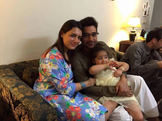 Faisal Qureshi with his wife and daughter