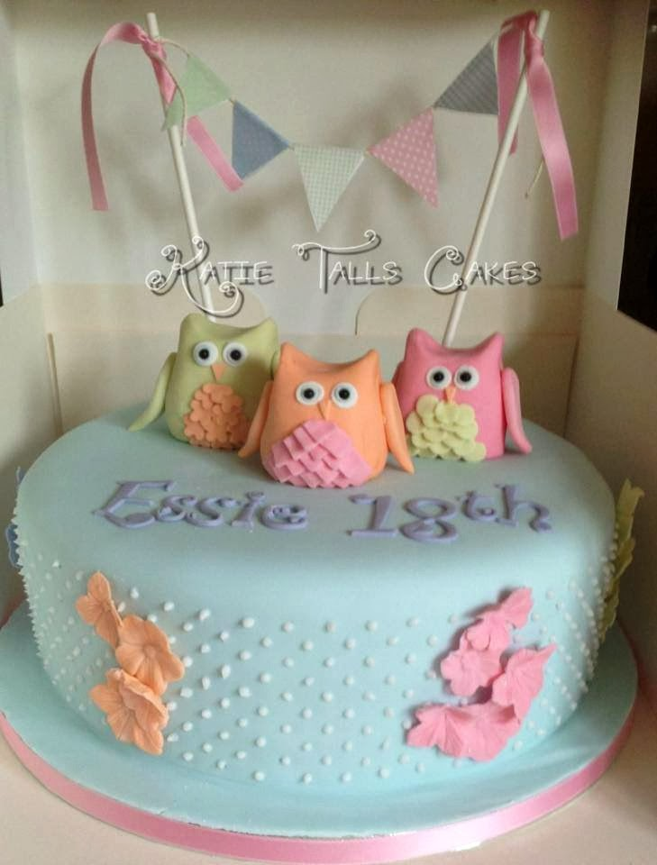 3 owls blue birthday cake