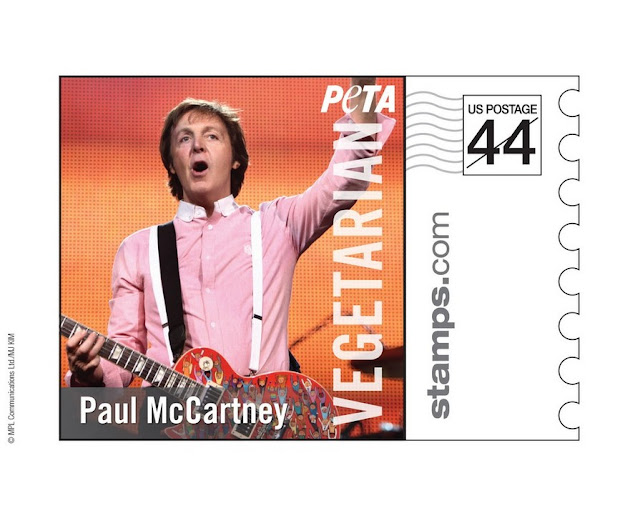 paul mccartney, the beatles, PETA, estampilla PETA, paul mccartney estampilla, paul mccartney stamp