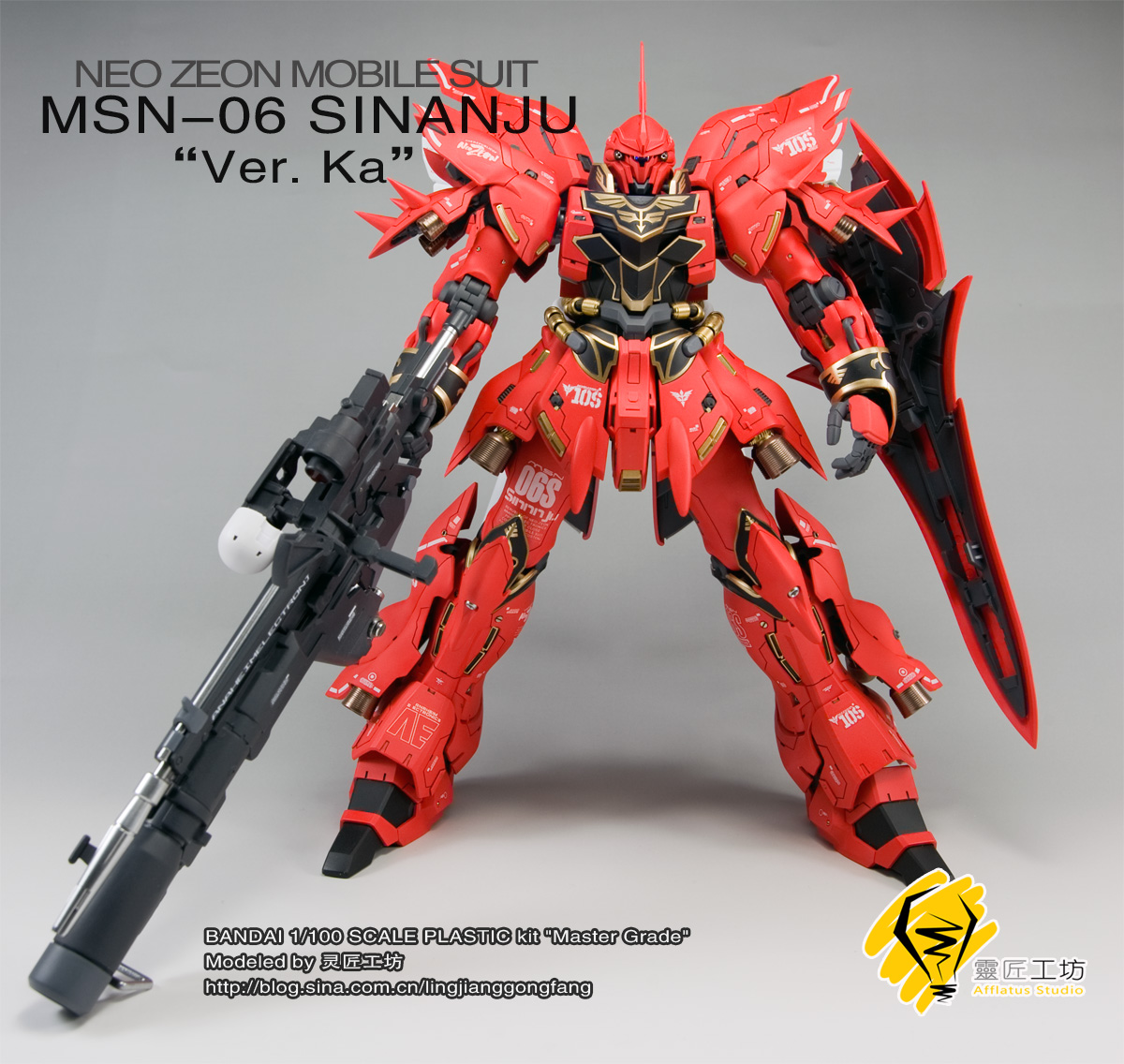 GUNDAM GUY: MG 1/100 MSN-06S Sinanju Ver. Ka - Customized ...