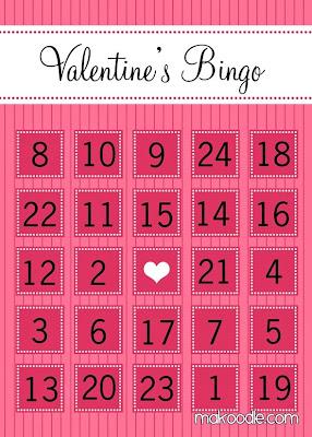 Striking image in printable valentine bingo card