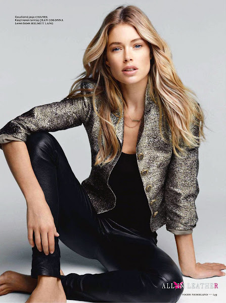fashion model, Doutzen Kroes, leather pants, Helmut Lang, photoshoot, Patrick Demarchelier, editorial, magazine, Vogue Netherlands, all in leather, 2012
