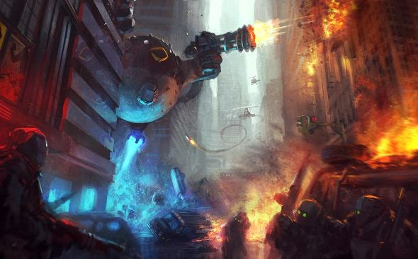 Grosnez deviantart illustrations fantasy science fiction City under attack