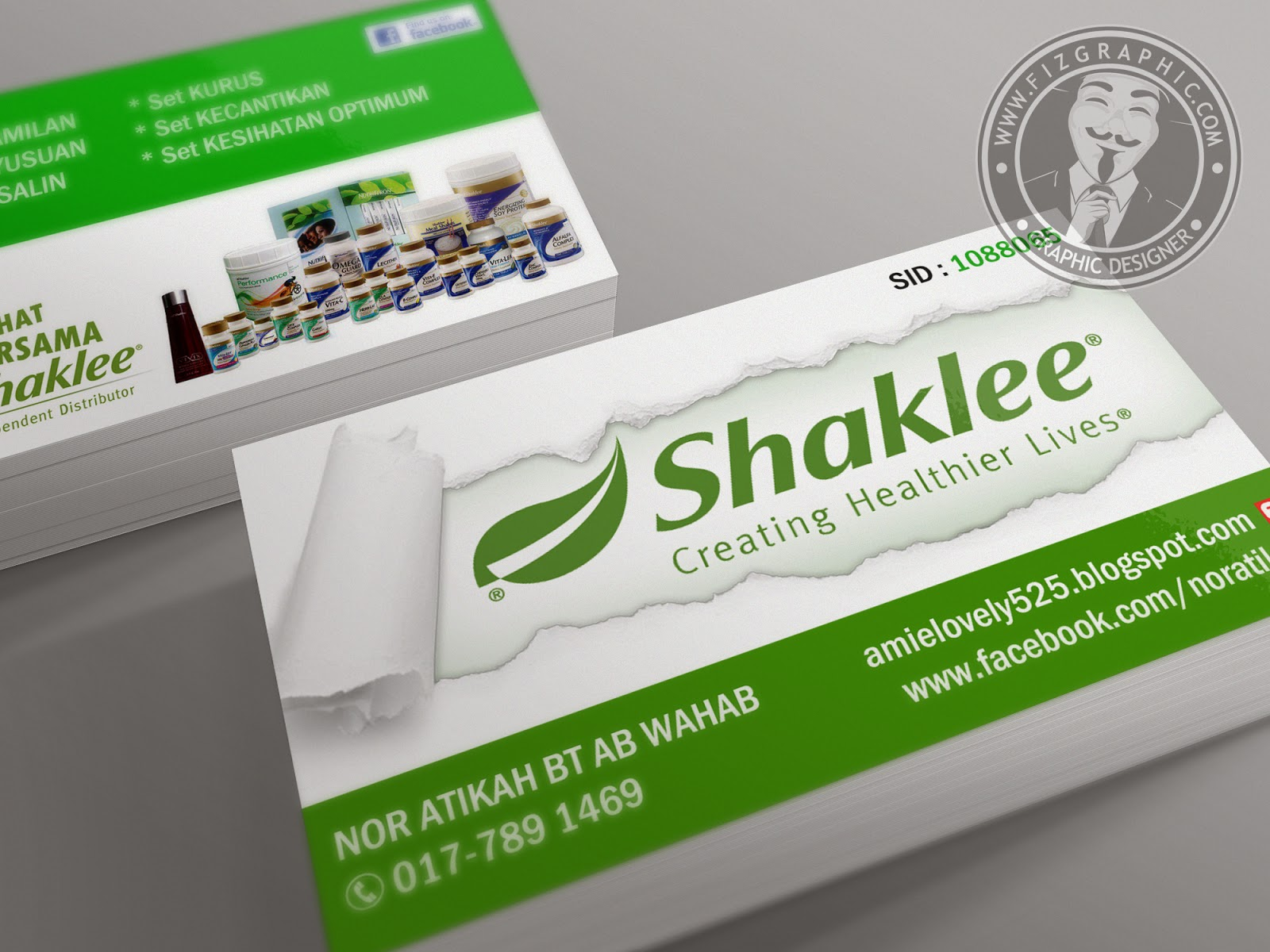 Fizgraphic design printing business card 45 for Shaklee business cards
