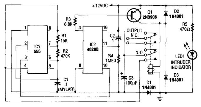 Auto Turn Off Alarm With 8 Minute Delay Circuit Diagram