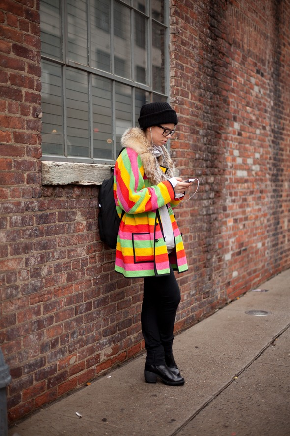 street style fashion women bright colored winter coats new york city fashion week 