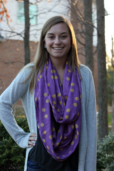 Collegiate Confetti Purple and Gold Scarf